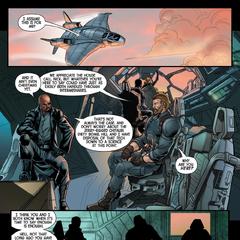 Rogers habla con Fury sobre la situación con Stark.