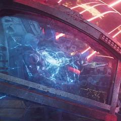 Nebula es conectada con cables para que la nave libere láseres a su alrededor.