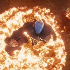 Quill es salvado por Yondu.