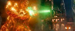 Mysterio Blasts Molten Man's Arm