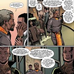 T'Chaka informa a su hijo sobre la situación de rehenes.
