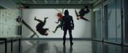 Taskmaster studies Black Widow Hammer Industries footage