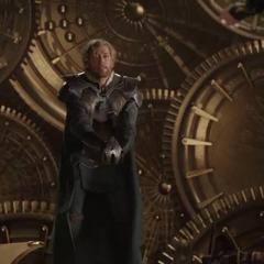 Fandral recibe dos puñales en el pecho por Hela.