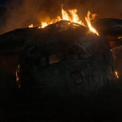 El avión de carga se estrella en Coney Island.