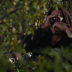 Stark analiza a los guardias de la mansión.
