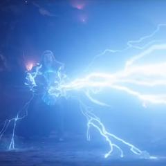 Thor le dispara sus rayos a la armadura de Stark.