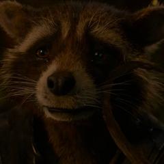 Rocket llora porque Groot se va a sacrificar.