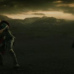 Thor a punto de atacar a Malekith en Svartalfheim.