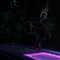 Toomes confronta al Hombre Araña sobre el camión.