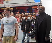 Samuel L Jackson and Chris Evans on set CATFA 03