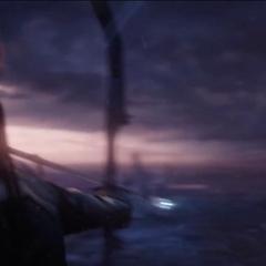 Barton a punto de lanzarle una flecha explosiva a Romanoff.