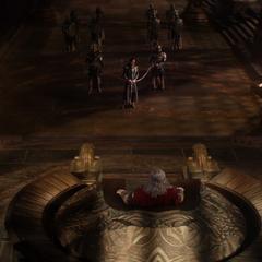 Odín juzga a Loki desde su trono.