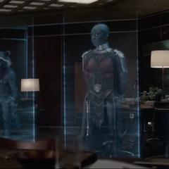 Danvers en una reunión holográfica con los Vengadores.