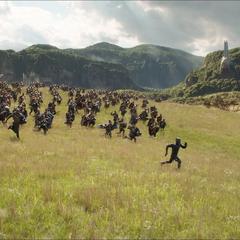 T'Challa se dirige a la batalla con los Wakandianos.