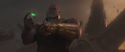 Thanos holds the Time Stone
