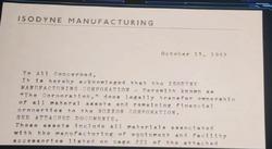 Isodyne Manufacturing Corporation transfiere la propiedad a Roxxon Corporation