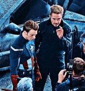 Robert Downey Jr. and Chris Evans on the set of The Avengers 4 04