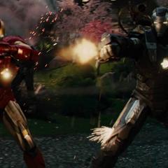 Stark y Rhodes pelean contra los Hammer Droides.