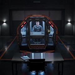 Zemo es encerrado en una celda de contención por sus crímenes.