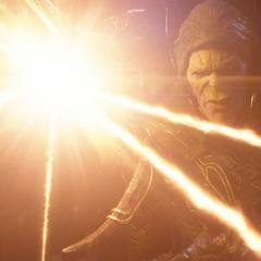 Glaive reflecta el rayo de energía de Visión.
