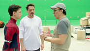 Tom Holland & Robert Downey Jr. with Anthony Russo (Atlanta, GA - The Making of CACW)