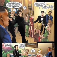 Stark coquetea con las mujeres del club.