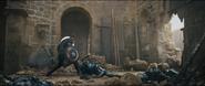 Cap Beating an Ultron Sentry