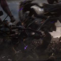 Banner golpea a varios soldados con un Carruaje Chitauri.