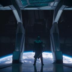 Ronan llega a a la atmósfera de la Tierra junto con la flota de los Acusadores.