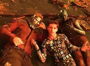 Avengers Infinity War Behind The Scenes IMG (Spidey Star-Lord Nebula)