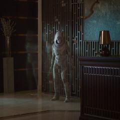 La Fantasma aparece frente a van Dyne.