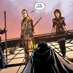 Wong y los Maestros tras vencer a la Bruja.