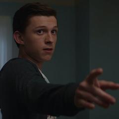 Parker detiene a Stark con su telaraña.