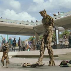 Groot pierde sus brazos después de luchar con Gamora.