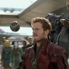 Quill a punto de ser capturado por Groot.