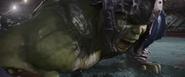 Hulk being beaten by Thor