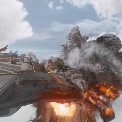 El Helicarrier es atacado por Barton.