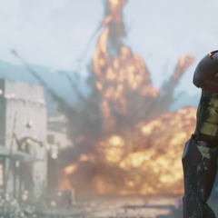Stark destruye un tanque.