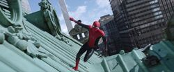 Spider-Man Runs On Top Of A Roof