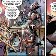 Rocket y Groot negocian con Zade Scraggot.