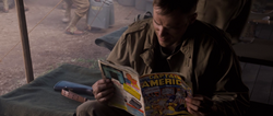 US Soldier reading Captain America Comic (1943)