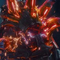 Ultrón destruye su propio cuerpo por medio de otro cuerpo.