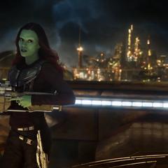 Gamora carga su rifle para enfrentar al Abilisk.
