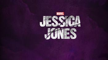 Jessica Jones Logo con fondo morado