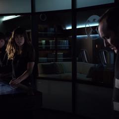 Skye informa al equipo sobre la búsqueda de la Ciuad Kree.