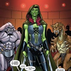 Gamora es rodeada por los forajidos y se alista para enfrentarlos.