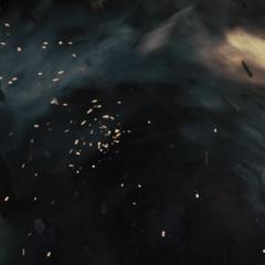 Thor lucha con el Destructor dentro de un tornado.