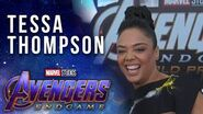 Tessa Thompson on suriving the snap at the Avengers Endgame Premiere