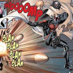 Pym se encoge usando la tecnología de su traje.