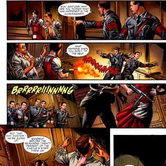 Carter le dispara a los soldados de HYDRA.